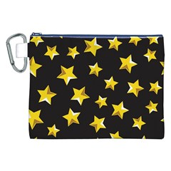 Yellow Stars Pattern Canvas Cosmetic Bag (xxl) by Onesevenart