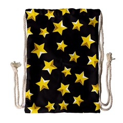 Yellow Stars Pattern Drawstring Bag (large) by Onesevenart