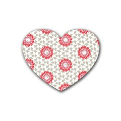 Stamping Pattern Fashion Background Rubber Coaster (heart)  by Onesevenart