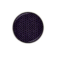Brick2 Black Marble & Purple Brushed Metal (r) Hat Clip Ball Marker