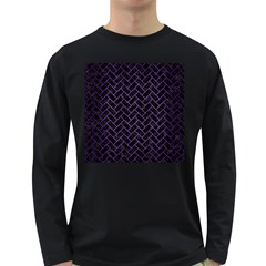 Brick2 Black Marble & Purple Brushed Metal (r) Long Sleeve Dark T Shirts by trendistuff