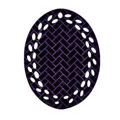 Brick2 Black Marble & Purple Brushed Metal (r) Ornament (oval Filigree) by trendistuff