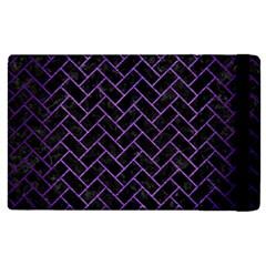 Brick2 Black Marble & Purple Brushed Metal (r) Apple Ipad 2 Flip Case by trendistuff