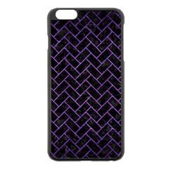 Brick2 Black Marble & Purple Brushed Metal (r) Apple Iphone 6 Plus/6s Plus Black Enamel Case by trendistuff