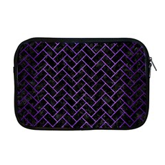 Brick2 Black Marble & Purple Brushed Metal (r) Apple Macbook Pro 17  Zipper Case by trendistuff