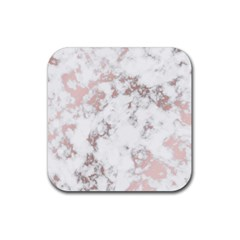 Pure And Beautiful White Marple And Rose Gold, Beautiful ,white Marple, Rose Gold,elegnat,chic,modern,decorative, Rubber Square Coaster (4 Pack)  by 8fugoso