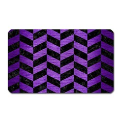 Chevron1 Black Marble & Purple Brushed Metal Magnet (rectangular) by trendistuff