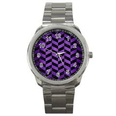 Chevron1 Black Marble & Purple Brushed Metal Sport Metal Watch by trendistuff