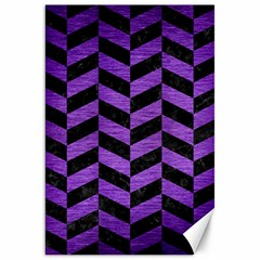 Chevron1 Black Marble & Purple Brushed Metal Canvas 20  X 30   by trendistuff