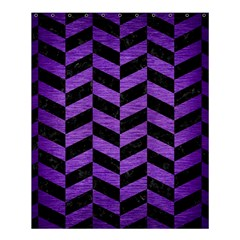 Chevron1 Black Marble & Purple Brushed Metal Shower Curtain 60  X 72  (medium)  by trendistuff