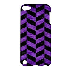 Chevron1 Black Marble & Purple Brushed Metal Apple Ipod Touch 5 Hardshell Case by trendistuff