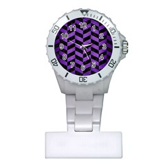Chevron1 Black Marble & Purple Brushed Metal Plastic Nurses Watch by trendistuff