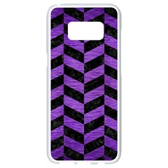 Chevron1 Black Marble & Purple Brushed Metal Samsung Galaxy S8 White Seamless Case by trendistuff