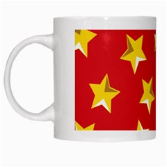 Yellow Stars Red Background Pattern White Mugs by Onesevenart
