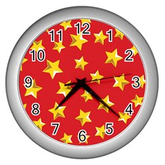 Yellow Stars Red Background Pattern Wall Clocks (silver)  by Onesevenart
