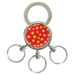 Yellow Stars Red Background Pattern 3 Ring Key Chains by Onesevenart