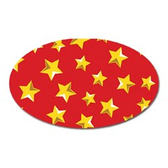 Yellow Stars Red Background Pattern Oval Magnet by Onesevenart