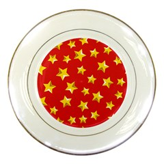 Yellow Stars Red Background Pattern Porcelain Plates by Onesevenart