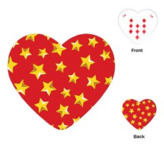 Yellow Stars Red Background Pattern Playing Cards (heart)  by Onesevenart