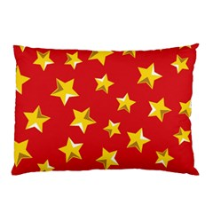 Yellow Stars Red Background Pattern Pillow Case by Onesevenart