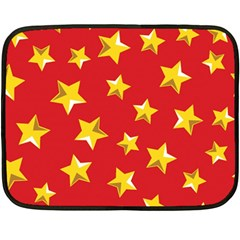 Yellow Stars Red Background Pattern Double Sided Fleece Blanket (mini)  by Onesevenart