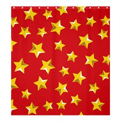 Yellow Stars Red Background Pattern Shower Curtain 66  X 72  (large)  by Onesevenart