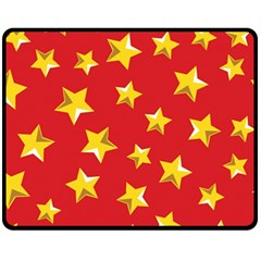 Yellow Stars Red Background Pattern Fleece Blanket (medium)  by Onesevenart