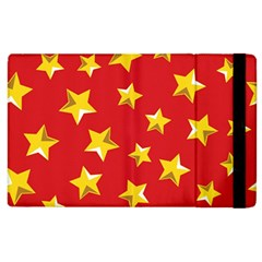 Yellow Stars Red Background Pattern Apple Ipad 3/4 Flip Case by Onesevenart