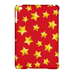 Yellow Stars Red Background Pattern Apple Ipad Mini Hardshell Case (compatible With Smart Cover) by Onesevenart