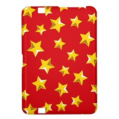 Yellow Stars Red Background Pattern Kindle Fire Hd 8 9  by Onesevenart