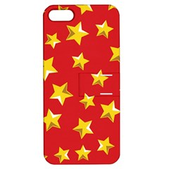 Yellow Stars Red Background Pattern Apple Iphone 5 Hardshell Case With Stand by Onesevenart