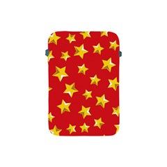 Yellow Stars Red Background Pattern Apple Ipad Mini Protective Soft Cases by Onesevenart