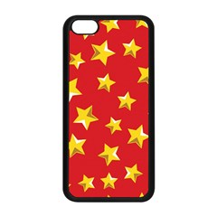 Yellow Stars Red Background Pattern Apple Iphone 5c Seamless Case (black) by Onesevenart