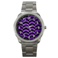 Chevron2 Black Marble & Purple Brushed Metal Sport Metal Watch by trendistuff