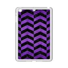 Chevron2 Black Marble & Purple Brushed Metal Ipad Mini 2 Enamel Coated Cases by trendistuff