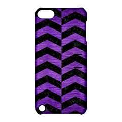 Chevron2 Black Marble & Purple Brushed Metal Apple Ipod Touch 5 Hardshell Case With Stand by trendistuff