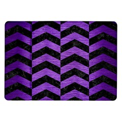 Chevron2 Black Marble & Purple Brushed Metal Samsung Galaxy Tab 10 1  P7500 Flip Case by trendistuff