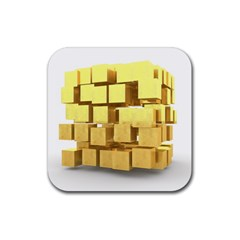 Gold Bars Feingold Bank Rubber Square Coaster (4 Pack)  by Onesevenart