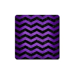 Chevron3 Black Marble & Purple Brushed Metal Square Magnet by trendistuff