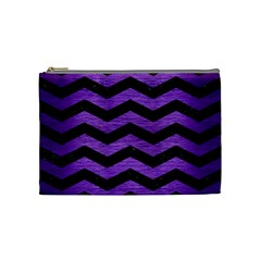 Chevron3 Black Marble & Purple Brushed Metal Cosmetic Bag (medium)  by trendistuff