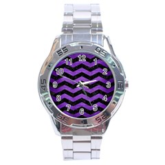 Chevron3 Black Marble & Purple Brushed Metal Stainless Steel Analogue Watch by trendistuff