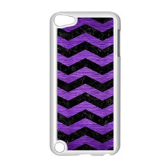 Chevron3 Black Marble & Purple Brushed Metal Apple Ipod Touch 5 Case (white) by trendistuff