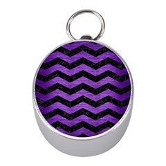 Chevron3 Black Marble & Purple Brushed Metal Mini Silver Compasses by trendistuff