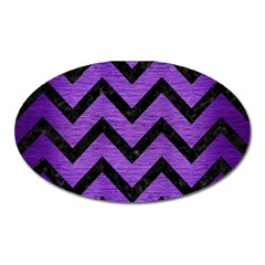 Chevron9 Black Marble & Purple Brushed Metal Oval Magnet by trendistuff