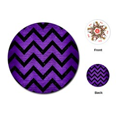 Chevron9 Black Marble & Purple Brushed Metal Playing Cards (round)  by trendistuff