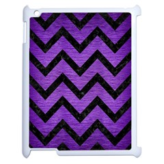 Chevron9 Black Marble & Purple Brushed Metal Apple Ipad 2 Case (white) by trendistuff