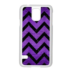 Chevron9 Black Marble & Purple Brushed Metal Samsung Galaxy S5 Case (white) by trendistuff