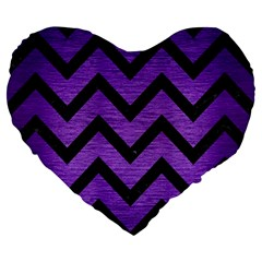 Chevron9 Black Marble & Purple Brushed Metal Large 19  Premium Flano Heart Shape Cushions by trendistuff