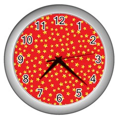 Yellow Stars Red Background Wall Clocks (silver)  by Onesevenart