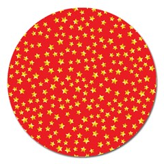 Yellow Stars Red Background Magnet 5  (round) by Onesevenart
